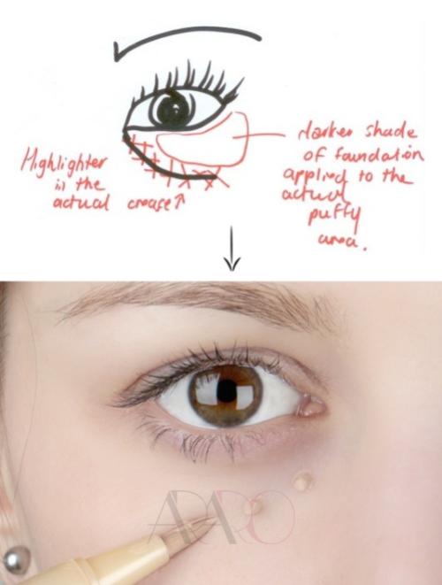 مخفی کردن پف های زیر چشم با مداد بصورت چند لایه